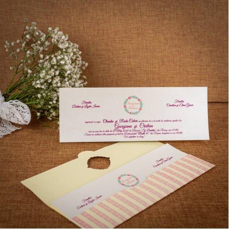 Invitatie de nunta Thusnelda Floral cu Chenar - ASAMBLARE GRATUITA