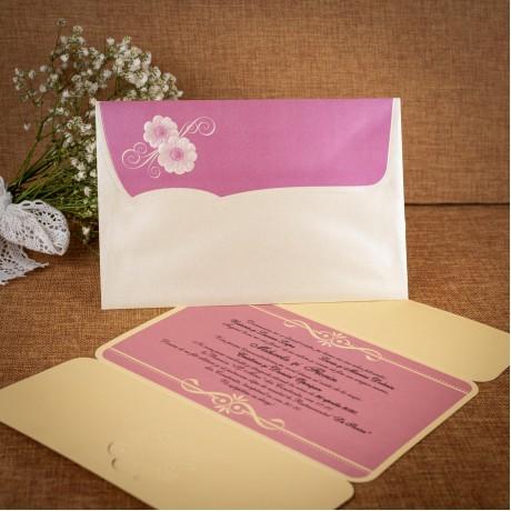 Invitatie de nunta Theodelinde Floral Emboss - TIPARIRE GRATUITA