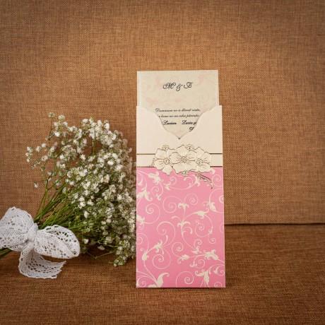 Invitatie de nunta Serilda Floral Emboss - TIPARIRE GRATUITA