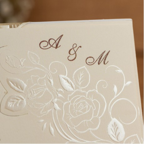 Invitatie de nunta Sherry Floral Emboss Perlat - TIPARIRE GRATUITA