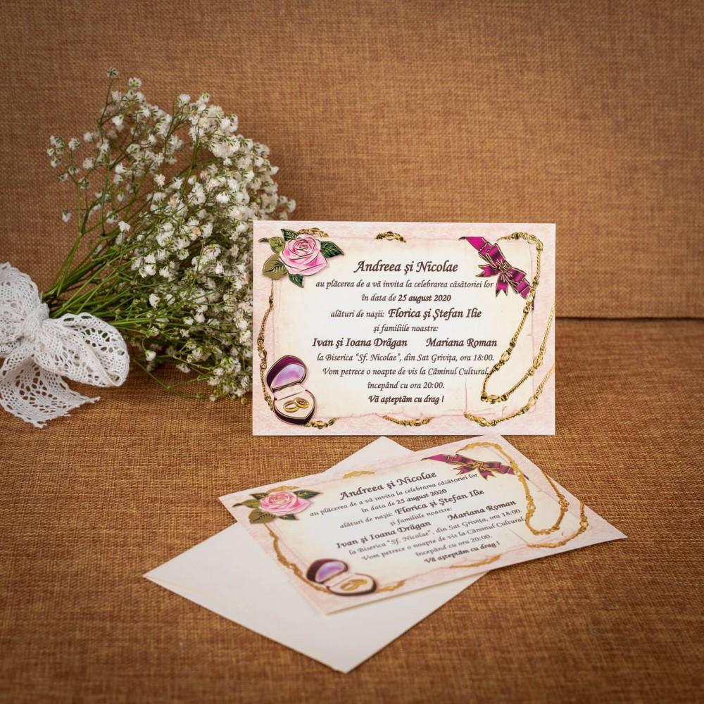 Invitatie de nunta Christabelle Vintage Verighete - ASAMBLARE GRATUITA