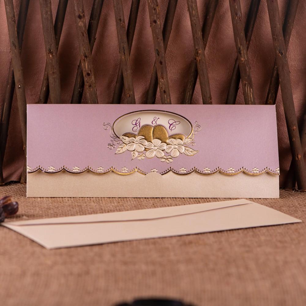Invitatie de nunta Elendyna Mov Floral - TIPARIRE GRATUITA