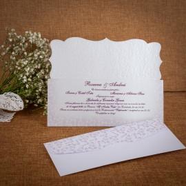 Invitatie de nunta Corentina Emboss cu Fundã - TIPARIRE GRATUITA