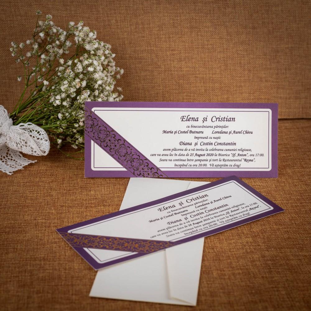 Invitatie de nunta Swanhilde Mov Elegant - ASAMBLARE GRATUITA