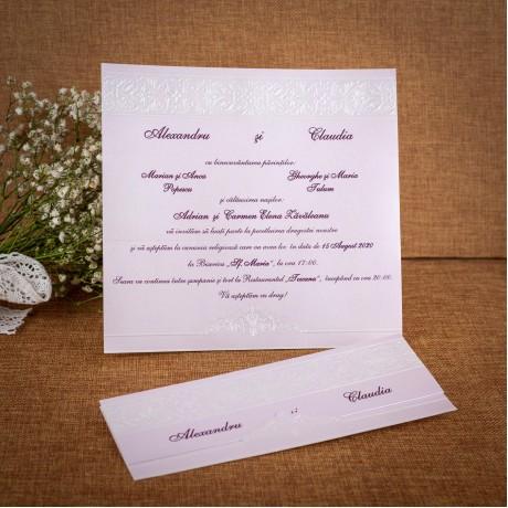 Invitatie de nunta Theda Damask Emboss - ASAMBLARE GRATUITA