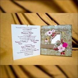 Invitatie de nunta Esme Vintage cu Chenar