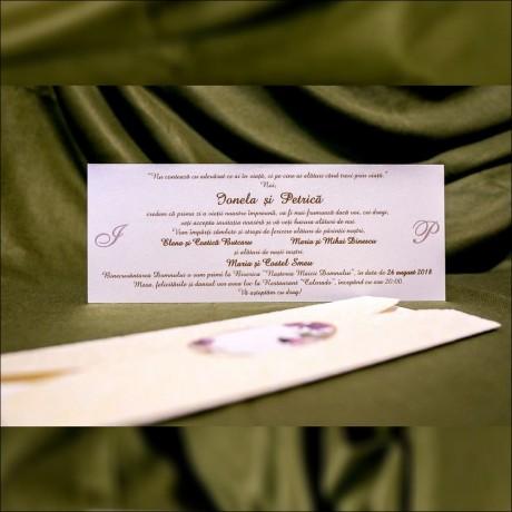 Invitatie de nunta Candice Floral Catifea - Catifea