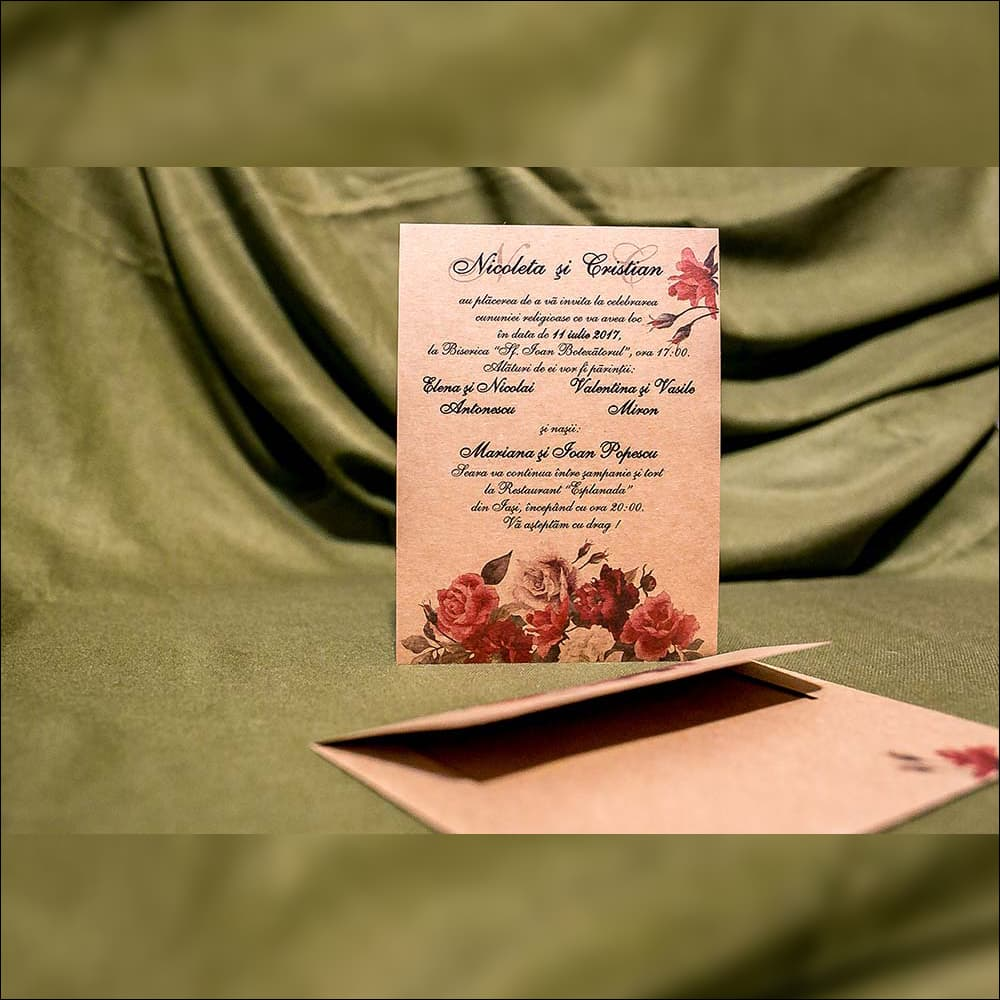 Invitatie de nunta Regina Floral Vintage