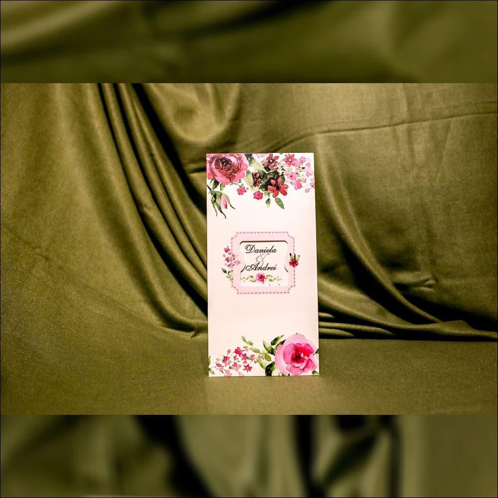 Invitatie de nunta Rosemarie Floral cu Chenar