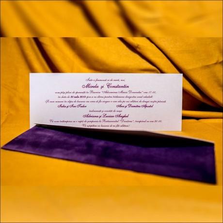Invitatie de nunta Sophronia Catifea Mov - Catifea