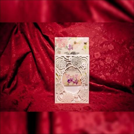 Invitatie de nunta Florinda Floral cu Pozã si  Decupaj Laser