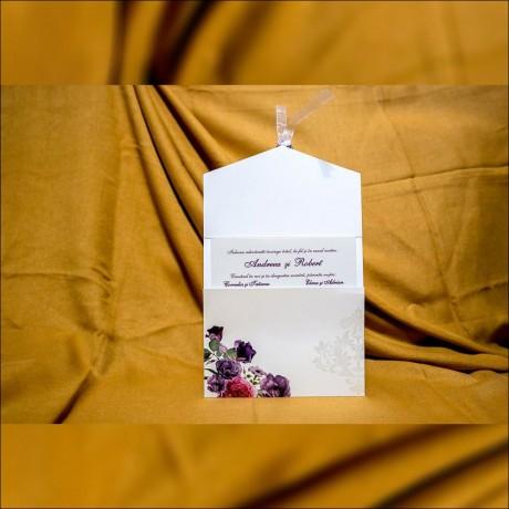 Invitatie de nunta Teofila Floral Damask cu Panglicã - Panglicã