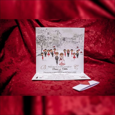 Invitatie de nunta Idella Miri Scrisoare cu Inimioarã - Scrisoare