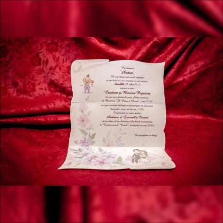 Invitatie nunta botez Gertrud Floral cu Miri si Bebe Tip Cutie Pernã - Invitatii nunta botez