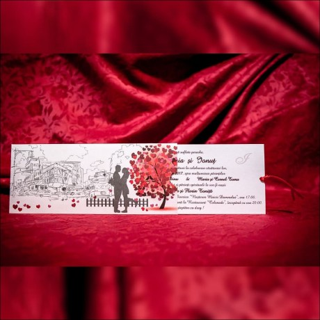 Invitatie de nunta Geneva Copac Inimioare si Miri Tip Plic