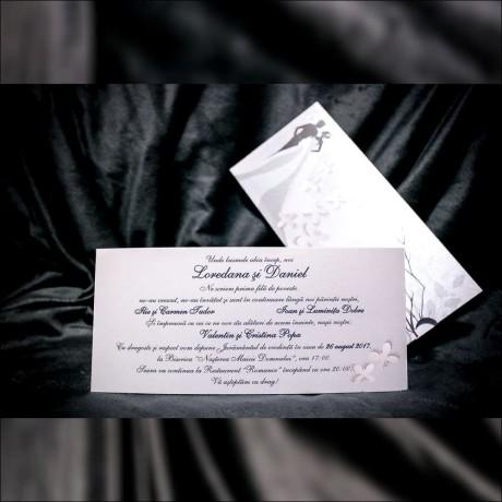 Invitatie de nunta Hermine Romantic cu Miri si Fluturasi - Tip Plic