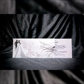 Invitatie de nunta Hermine Romantic cu Miri si Fluturasi