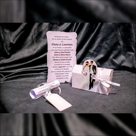 Invitatie de nunta Jacobina Miri Floral Tip Cutie - Cutie
