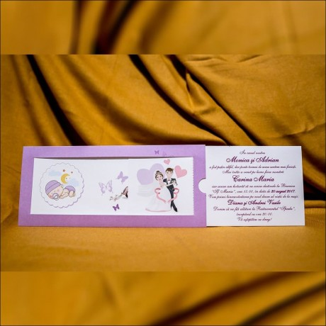 Invitatie nunta botez Lisabeth Miri cu Bebe si Fluturasi - Invitatii nunta botez