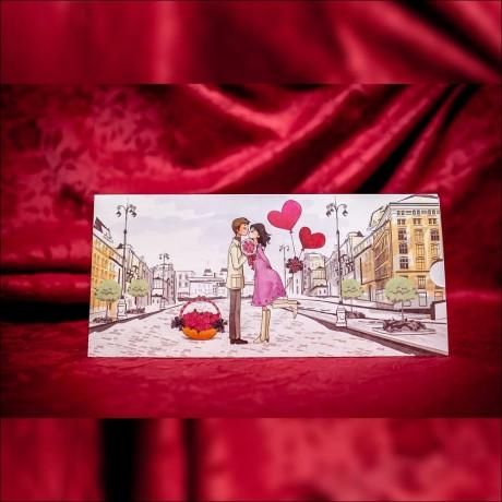 Invitatie de nunta Madelyn Urban cu Miri si Inimioare Tip Plic