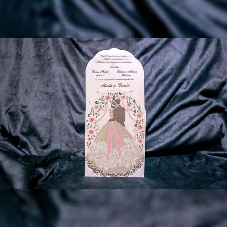 Invitatie de nunta Margery Arcada cu Miri Emboss - Emboss
