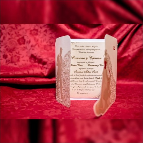Invitatie de nunta Drusilla Miri Valsând cu Verighete - Verighete