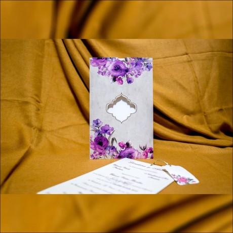 Invitatie de nunta Rosaleen Floral cu Chenar - Snur