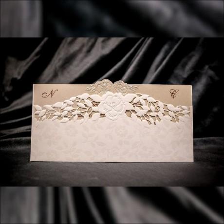 Invitatie de nunta Theresa Floral Emboss cu Frunze Laser Cut - Decupaj Laser