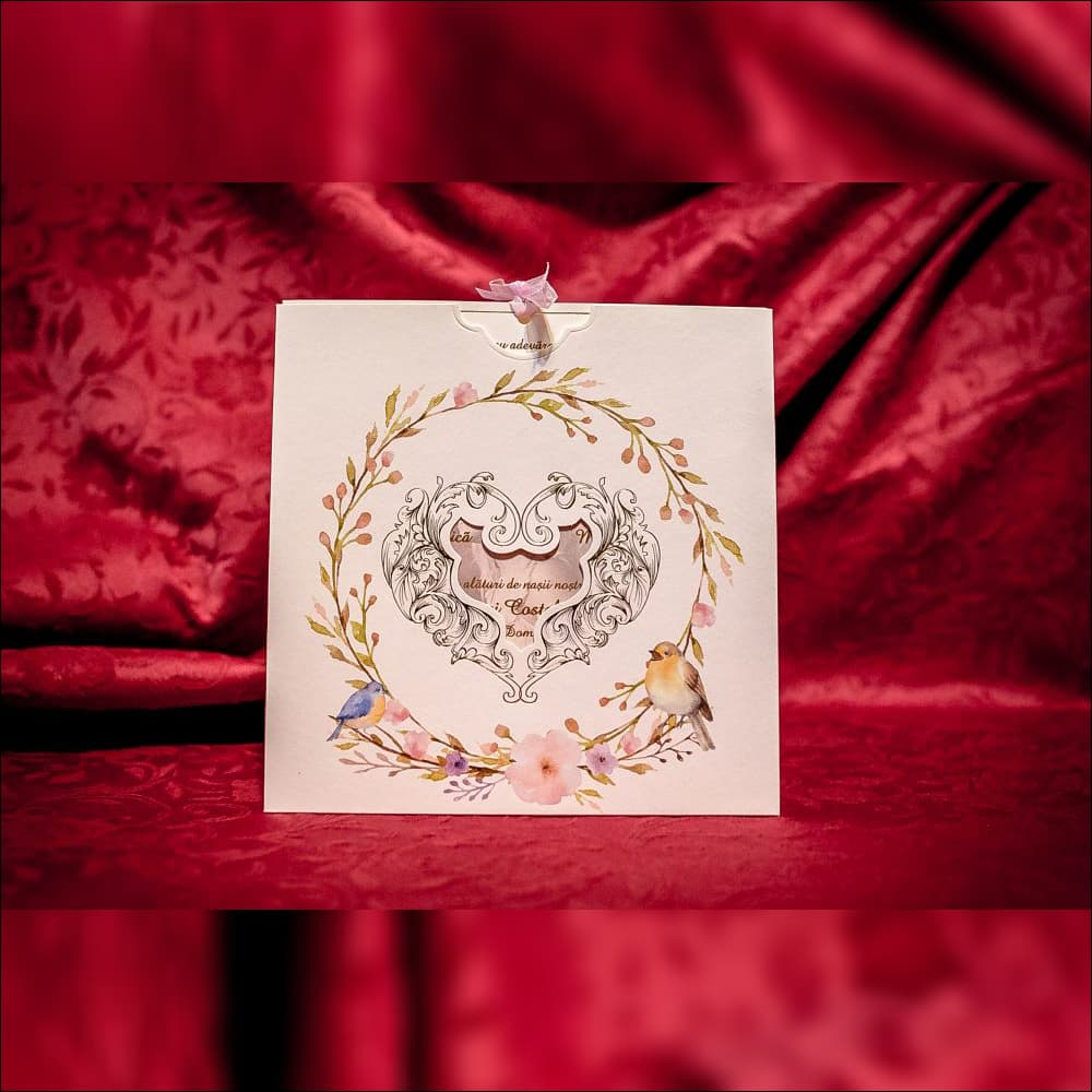 Invitatie de nunta Verna Chenar Inimioarã cu Pozã - Panglicã