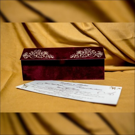 Invitatie de nunta Zenaida Catifea Premium Emboss - Catifea
