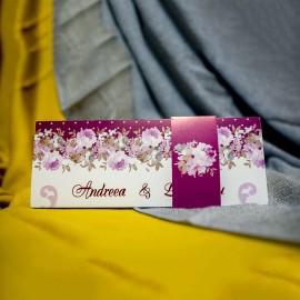 Invitatie de nunta Gisela Floral Mov cu Bentitã