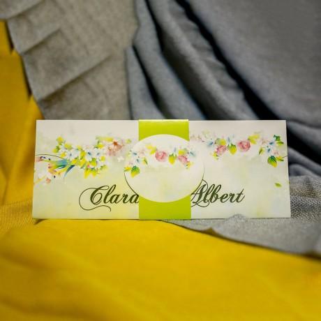 Invitatie de nunta Hortensia Floral Vernil cu Bentitã