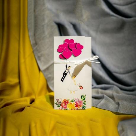 Invitatie de nunta Adelyn Miri si Balonase Inimioare Haioasã - Panglicã