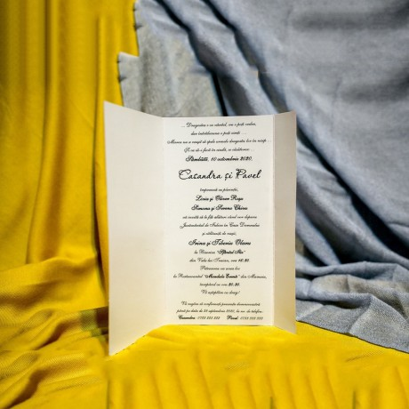 Invitatie de nunta Albertine Floral cu Panglicã Visinie - Panglicã