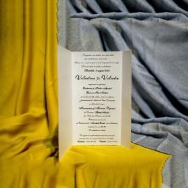 Invitatie de nunta Alfreda Floral cu Dungi si Panglicã Visinie