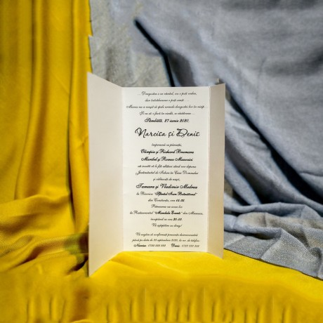 Invitatie de nunta Belinda Floral cu Panglicã Visinie - Panglicã