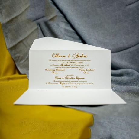 Invitatie de nunta Christine Floral Galben Pal Tip Plic - Tip Plic
