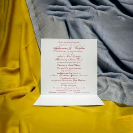 Invitatie de nunta Colette Floral cu Dungi Roz - Florale