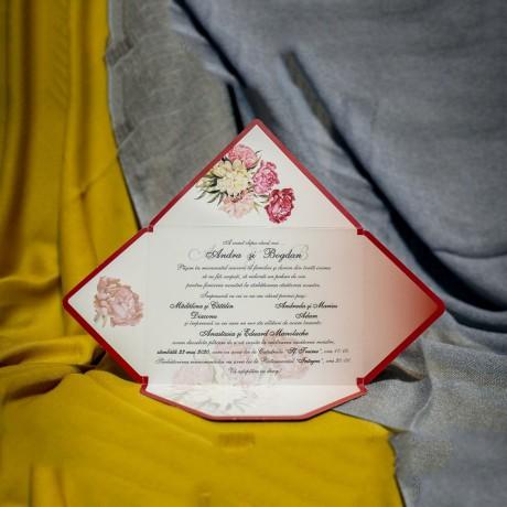 Invitatie de nunta Clotilda Floral Tip Plic - Tip Plic