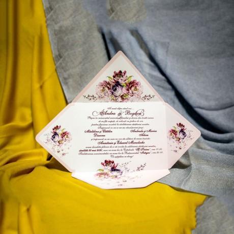 Invitatie de nunta Clelia Floral Tip Plic - Tip Plic