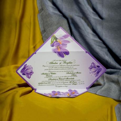 Invitatie de nunta Dorothee Floral Mov Tip Plic - Tip Plic