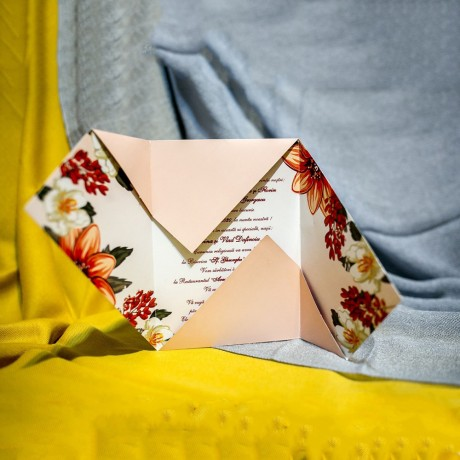Invitatie de nunta Editha Floral Tip Plic - Tip Plic