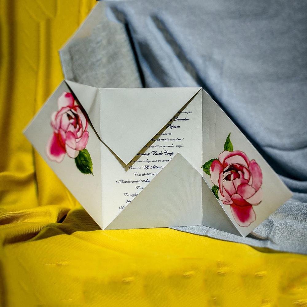 Invitatie de nunta Elissa Floral Tip Plic - Tip Plic