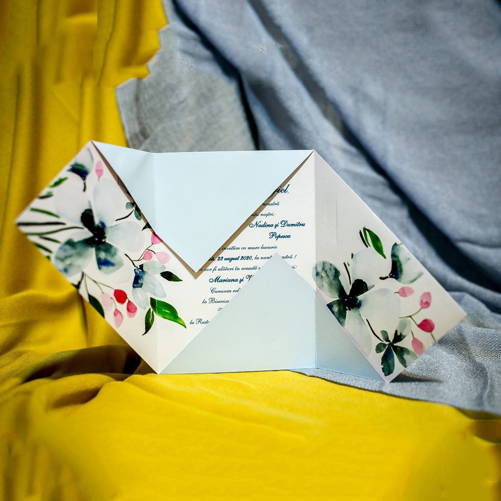 Invitatie de nunta Elsa Floral Tip Plic - Tip Plic