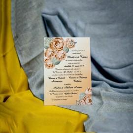 Invitatie de nunta Elnora Floral Somon cu Snur