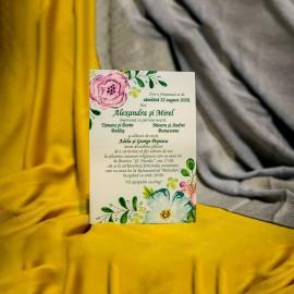 Invitatie de nunta Erminia Verde Floral cu Snur