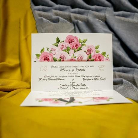 Invitatie de nunta Evanthia Floral cu Inimioare - Inimioare
