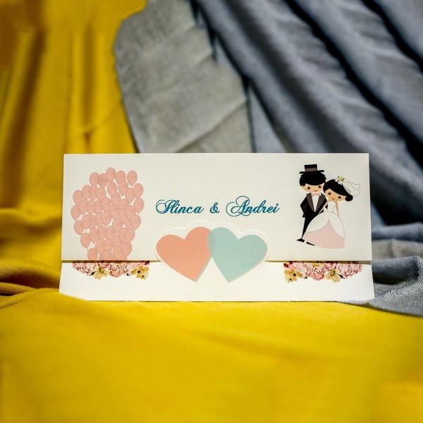 Invitatie de nunta Fredrika Miri cu Inimioare si Baloane