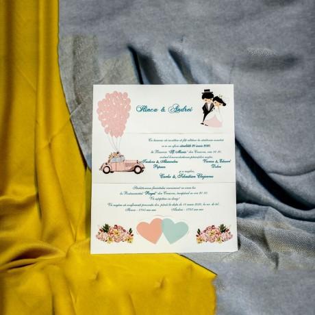 Invitatie de nunta Fredrika Miri cu Inimioare si Baloane - Miri