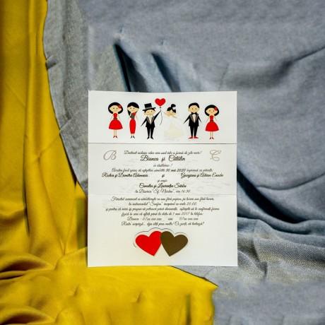 Invitatie de nunta Geraldine Miri cu Inimioare si Nuntasi - Miri